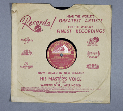 Gramophone record (78rpm speed). The Auckland Wate...