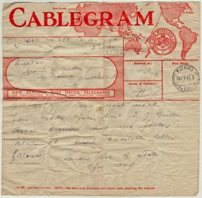 Telegram; dated 26 February 1943 advising Clara Qu...