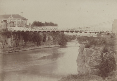 A black and white photograph of the Mataura River ...