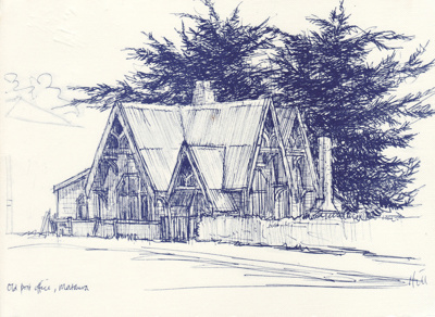 Sketch; reproduction of a pen sketch of Mataura's ...