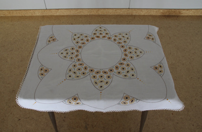 Table cloth; cream linen hand embroidered, square ...