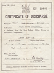 Certificate of Discharge, N.Z.Army, W.W.II [Hugh Brown McConnell]; unknown maker; 20.12.1945; MT2015.21.20