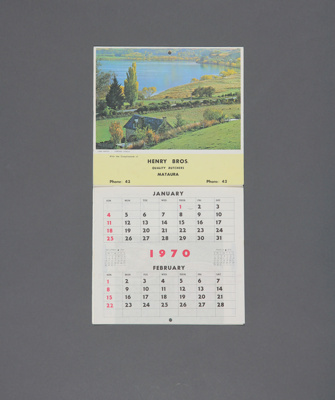 Calendar; a 1970 flip type wall calendar for Henry...