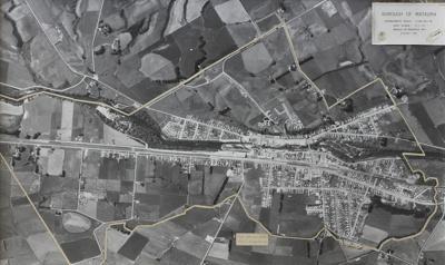 Photograph, framed [Mataura Borough, aerial view, 1972]; Aero Surveys; 15.02.1972; MT2011.185.423