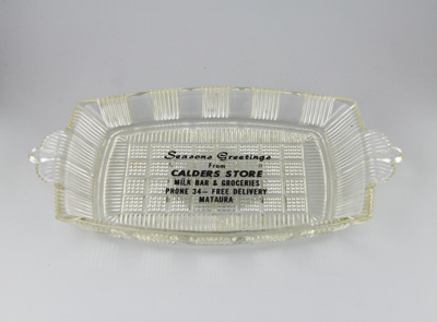 Dish; a rectangular-shaped glass dish. This one wa...