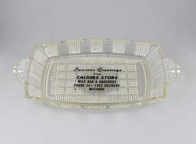 Dish; a rectangular-shaped glass dish. This one wa...
