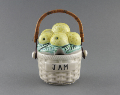 Jam Pot; designed to look like a wicker basket wit...