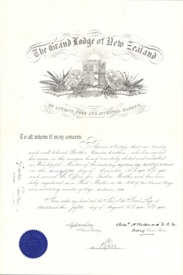 Certificate [Masonic Lodge issued to Gavin Cullen]; The Grand Lodge of New Zealand; 05.08.1925; MT2016.1.1