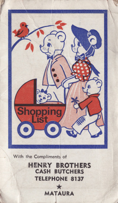 Shopping list and 1983 calendar. A white booklet w...