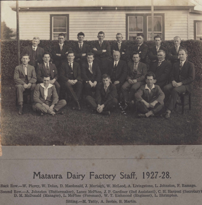Photograph [Mataura Dairy Factory employees 1927-1928]; Mora Studio, The (Gore); 1928; MT2011.185.81