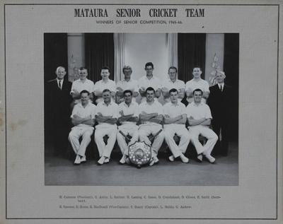 A black and white portrait of the Mataura Cricket ...
