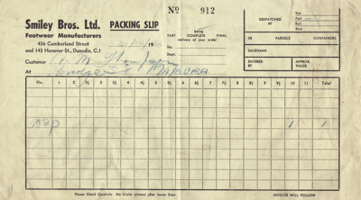 Packing Slip; Smiley Brothers Limited (Dunedin); 21.12.1960; MT2012.16.4