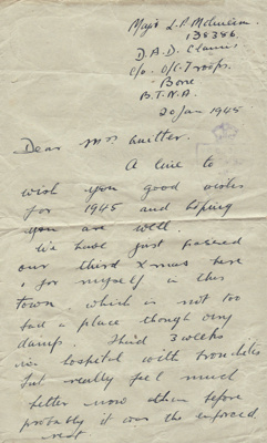Letter; letter dated 20 January 1945 from Major L....