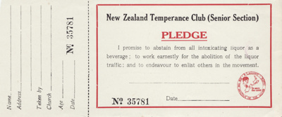 Pledge; New Zealand Temperance Club Senior Section...