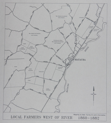 Map of Mataura Farm Locations [Showing Farmer's West of the River 1860-1882]; Department Survey and Land Information; 1990; MT2014.44.1