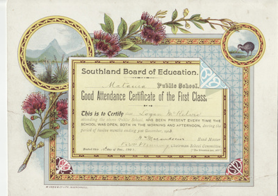 Certificate, Southland Board of Education, Good Attendance Certificate, Logan McKelvie ; Craig, W. & Co; 18.12.1903; MT2012.96.1