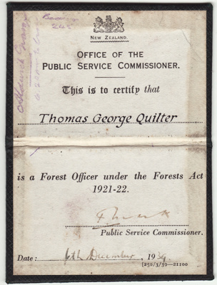 Document; Warrant issued under the Forestry Act 19...