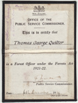 Warrant, Forest Officer's Certification [Thomas George Quilter]; New Zealand Government; 1939; MT2015.20.3