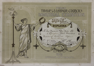 Award, New Zealand Paper Mills Ltd, 1912; Otago Trades and Labour Council; 1912; MT2012.15.6