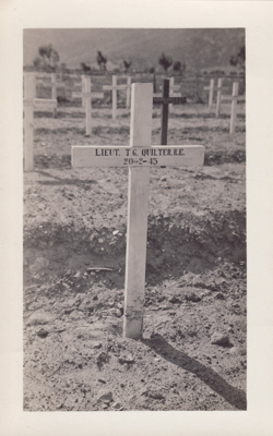 A black and white photograph of the cross on Lieut...