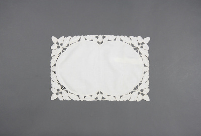 Tray cloth; cream Irish linen featuring an oval ce...