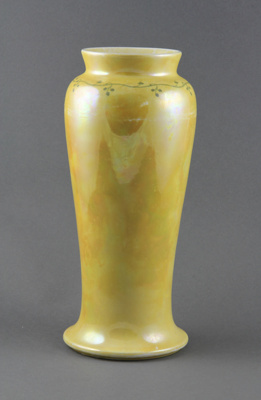 Vase; a yellow vase decorated around the top just ...