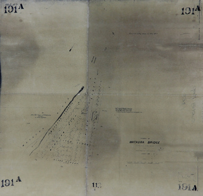 Survey map, photocopy, Town of Mataura Bridge 1874...