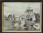 Artwork, framed [Ships: the Philip Laing and the John Wickliffe, 1848]; McIntyre, Peter; 1848; MT2011.185.453