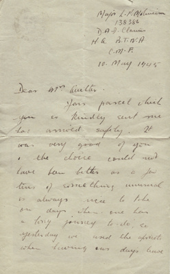 Letter; letter dated 10 May 1945 from Major L. P. ...