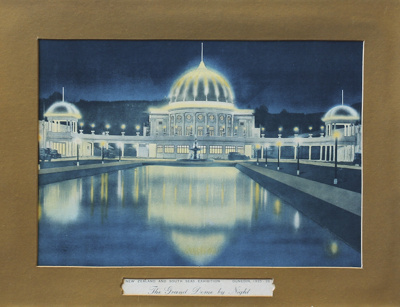 A coloured print of the Grand Dome by Night during...