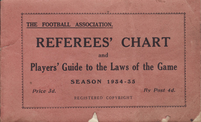 Book; Football Association Rules, Referees' Chart ...