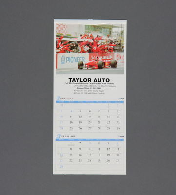 Calendar; a 1999 flip type wall calendar for Taylo...