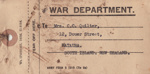 Labels, Two baggage labels returning the kit of Lieutenant Thomas Quilter after his death during W.W.II; War Department, British; 1943; MT2015.20.61