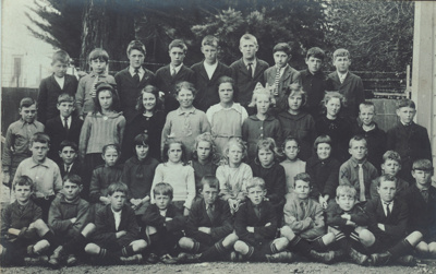 A black and white photograph of pupils at Mataura ...