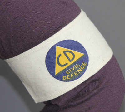 Armband; a cream drill Civil Defence Sector Warden...