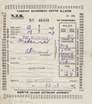 Ticket; Train, Armed Forces, World War Two; New Zealand Railways; 13.08.1943; MT2012.92