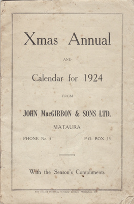 Calendar; John MacGibbon & Sons Limited's calendar...