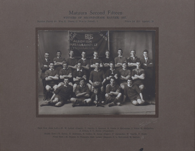 A black and white portrait of the Mataura Rugby Fo...