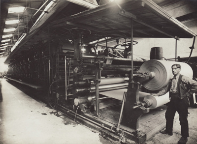 Photograph, 4 of 16, Mataura Paper Mill Album [No 4 Machine, Dry End] ; unknown photographer; 1924-1925; MT2012.137.4