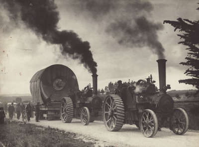 Photograph [Mataura Paper Mill equipment being moved from Gore to Mataura by traction engines]; Clayton, Charles (Gore); 1936; MT2011.185.53
