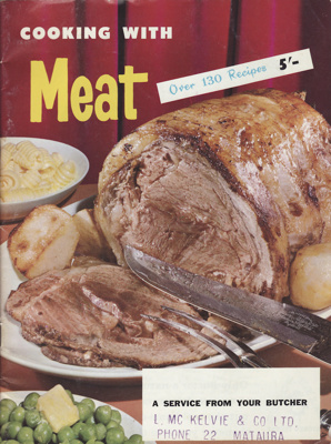 Cookery book; ' Cooking with Meat. A booklet of me...