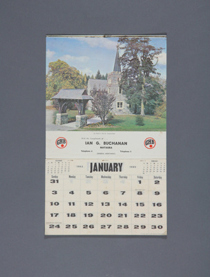 Calendar; a 1965 wall calendar for Ian. G. Buchana...