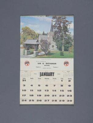 Calendar; a 1965 wall calendar for Ian. G. Buchana...