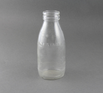 Bottle; a clear glass 300ml milk or cream bottle.