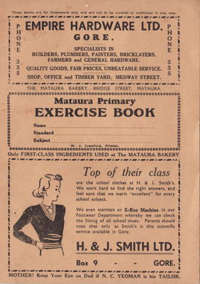 Book: a soft covered homework exercise book issued...