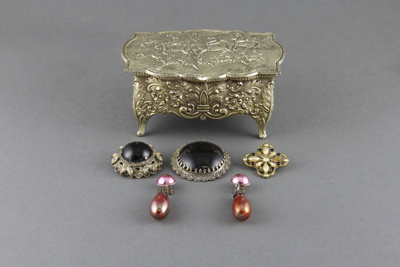 Jewellery Box; a silver-plated ornamental box and ...