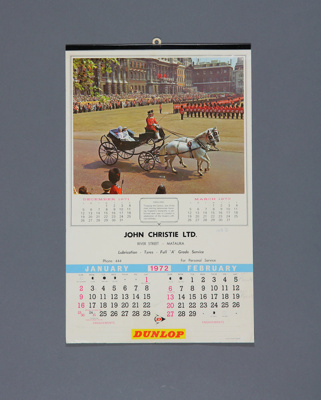 Calendar; a 1972 wall calendar for John Christie, ...