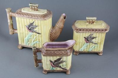 Tea set; comprising of a teapot, cream jug and sug...