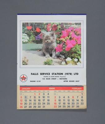 Calendar; a 1986 flip type wall calendar for Falls...