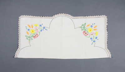 Table cloth; made by the late Mrs Runa McGowan (ne...
